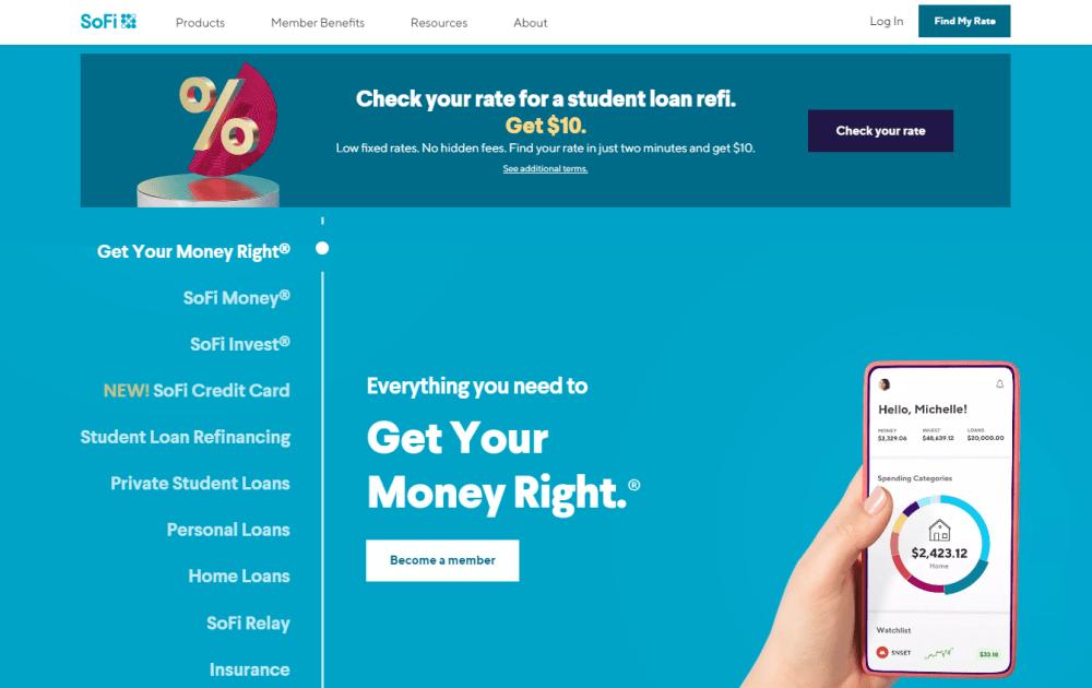 SoFi Invest website